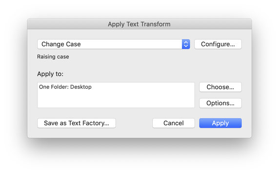 "Screen capture of the ""Apply Text Transform"" dialog box, with a transformation selected"