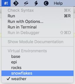 #! menu showing virtual environments