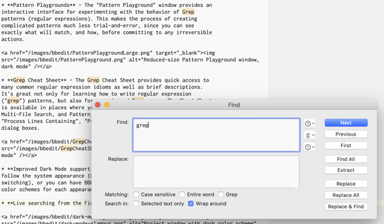 Partial screen capture with the word 'grep' typed in the Find window and matches highlighted in the window just behind it.