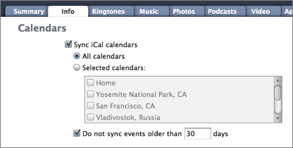 iTunes calendar sync settings