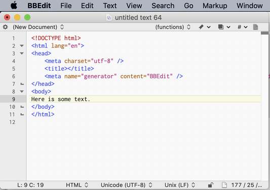 BBEdit screen shot with some simple HTML code