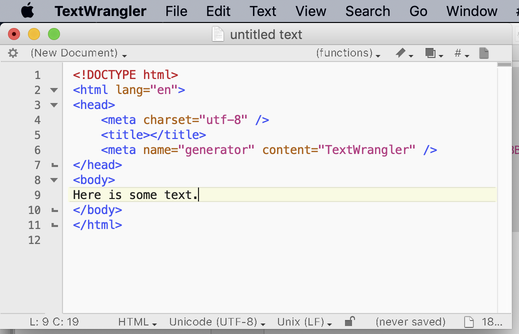 TextWrangler screen shot with some simple HTML code